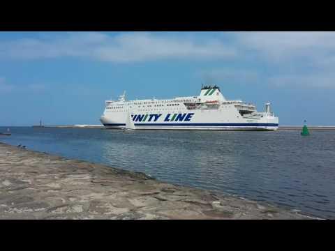 Unity Line Fähre in Swinemünde ( Sea Unity Shipping Line Świnoujście ) Ostsee Baltic Sea Mole Schiff