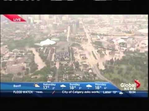 Aerial Calgary Flood Footage