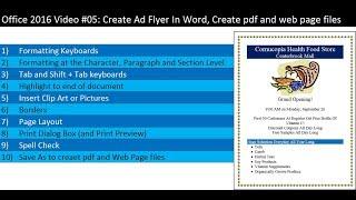 Office 2016 Vidéo #05: Créer une Annonce Flyer Dans Word, Créer des pdf et des fichiers de page web avec Enregistrer sous