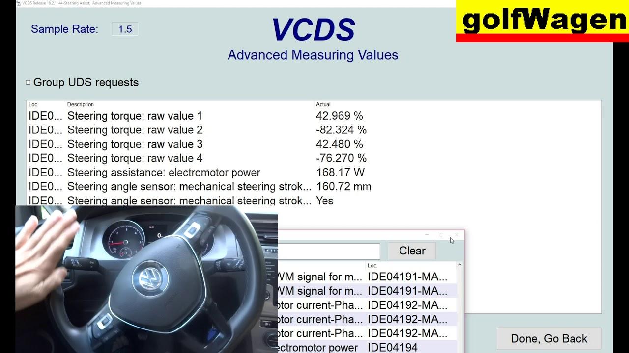 VW Golf 7 steering assistent set on VCDS-VAG