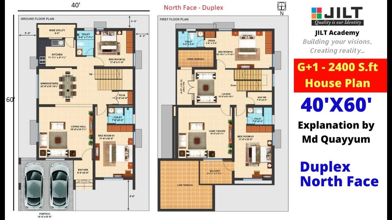 House Plan 40 X60 266 Sq Yard G 1 Floor Plans Duplex North Face Youtube