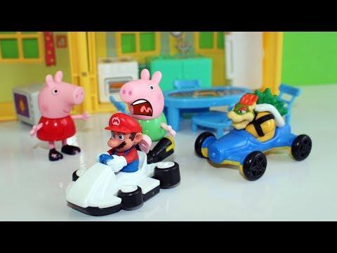 Peppa Pig George Na CORRIDA MALUCA Com Super Mario
