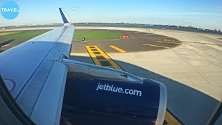 jetblue airbus a320 pushback taxi takeoff and climb at new york jfk