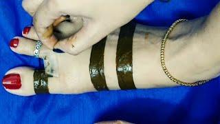 Eid special Feet Mehendi using cello tape / how to apply leg mehendi with help of Cello tape Latest