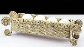 Make Handmade Basket Using Jute Rope & Cardboard | Jute Rope Easter Eggs Basket Craft