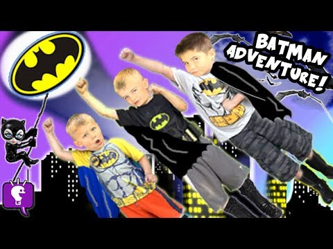Big BATMAN Adventure Journey! Scavenger Clues to The BAT Cave + Toy SURPRISES HobbyKidsTV