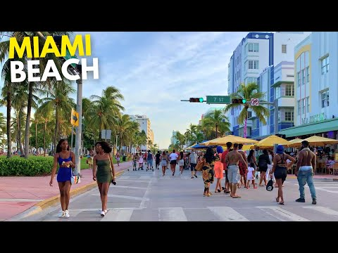 4K Labor Day Miami Beach Walk South Beach Ocean Drive Miami, FL