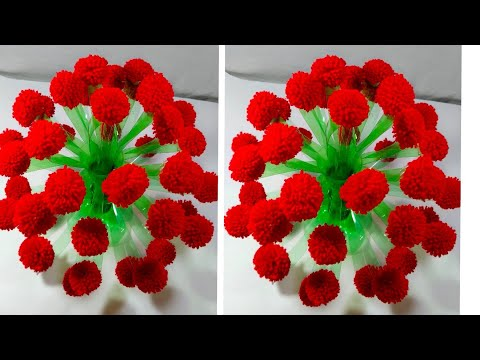 गुलदस्ता / (DIY)-NEW DESIGN WOOLLEN GULDASTA /WASTE PLASTIC BOTTLE GULDASTA /NEW CRAFT