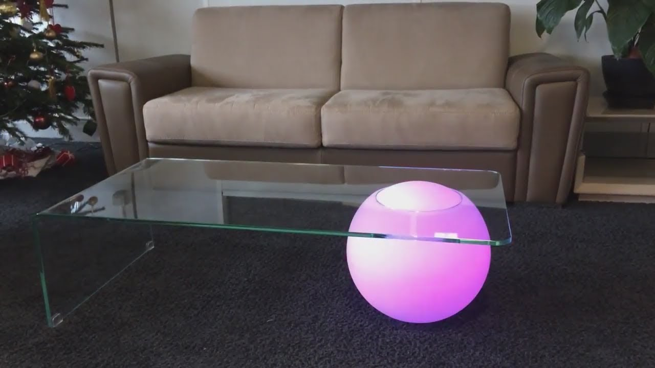 Table basse design verre lumineuse led square deco youtube for Deco fr table basse