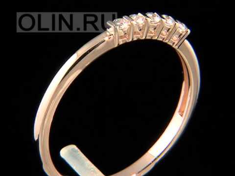 Кольцо с фианитом из желтого золота 585 пробы