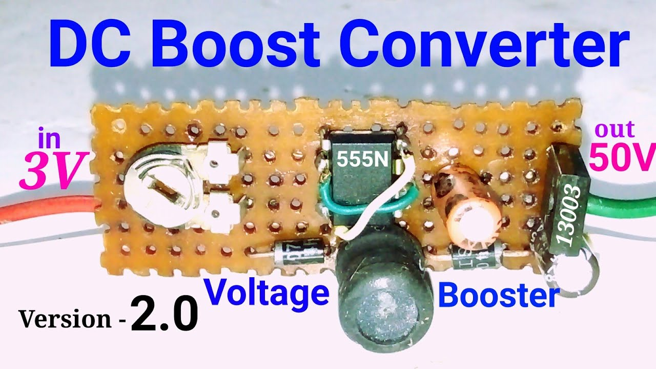How to make dc to dc voltage boost converter circuit, with 555N ic and  13003 transistor 3V to 50V dc