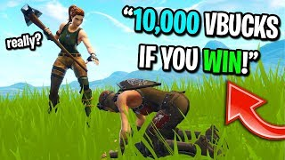 I gave a 10 year old kid 10,000 vbucks for CARRYING me to a win on Fortnite...
