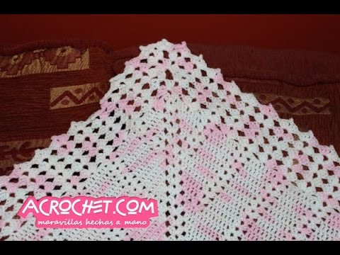 Manta conchitas y enteros tejida a crochet - cenefa - YouTube