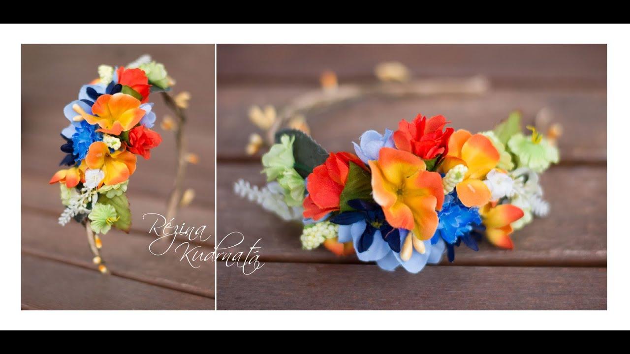 8ceee868227 Letní květinová čelenka   flowers headband - YouTube