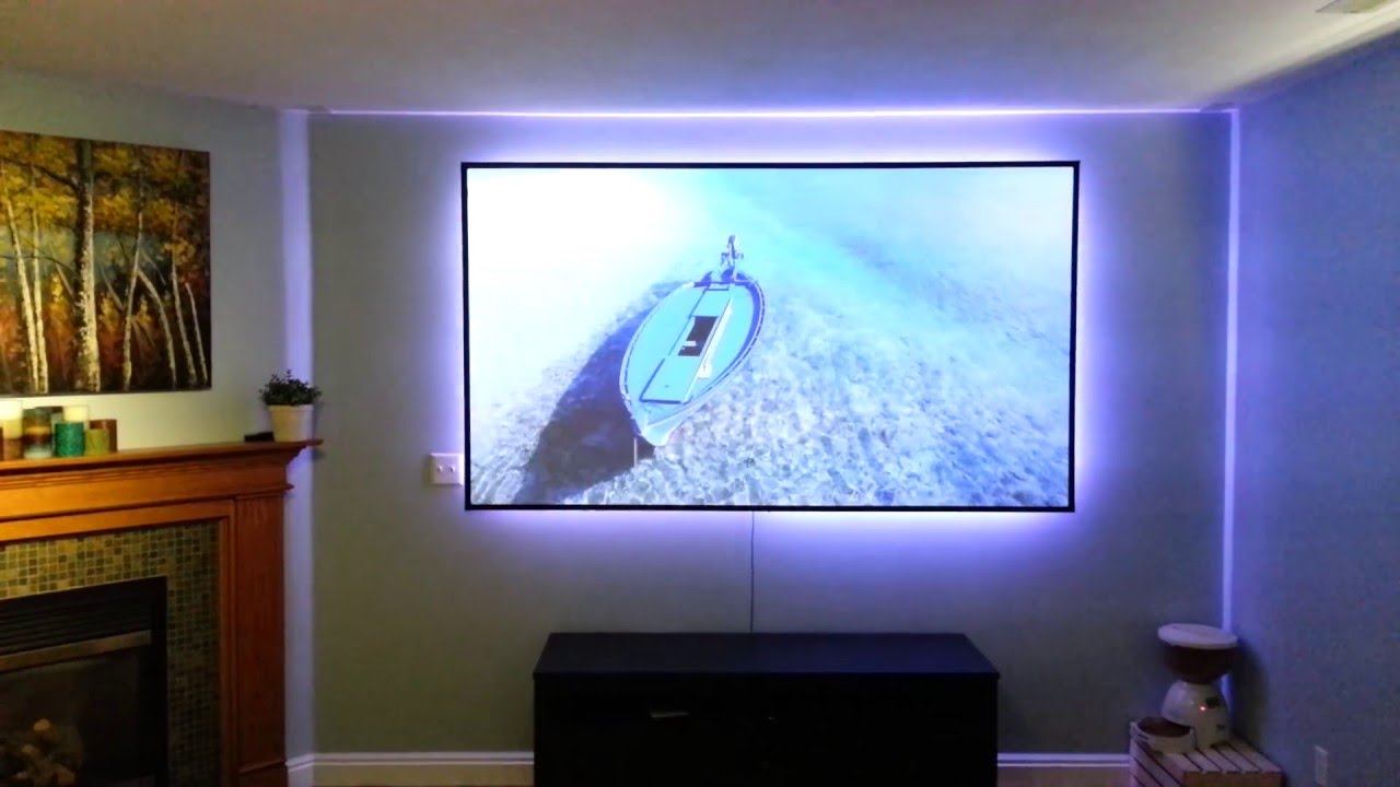 Black widow projector screen with lg pf85u led 1080p youtube for Paint projector screen