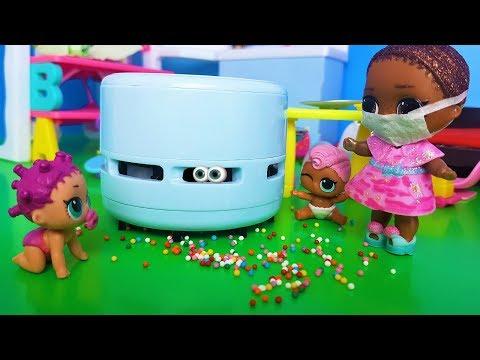 ЗАПЫЛЕСОСИЛИ! КУКЛЫ ЛОЛ СЮРПРИЗ в детском садике лол сюрприз видео для детей