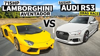 homepage tile video photo for 715hp V12 Lamborghini Aventador our 565hp Audi RS3 races! // This VS That