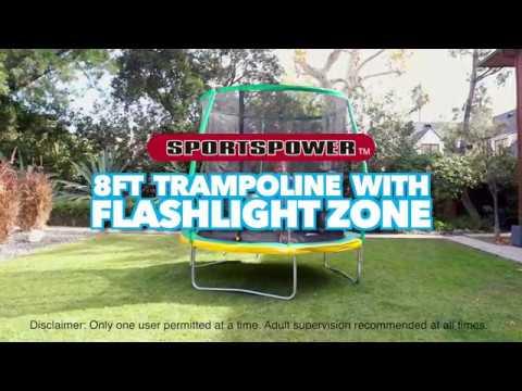 8 Ft Steelflex Trampoline With Flashlight Zone By Sportspower Youtube