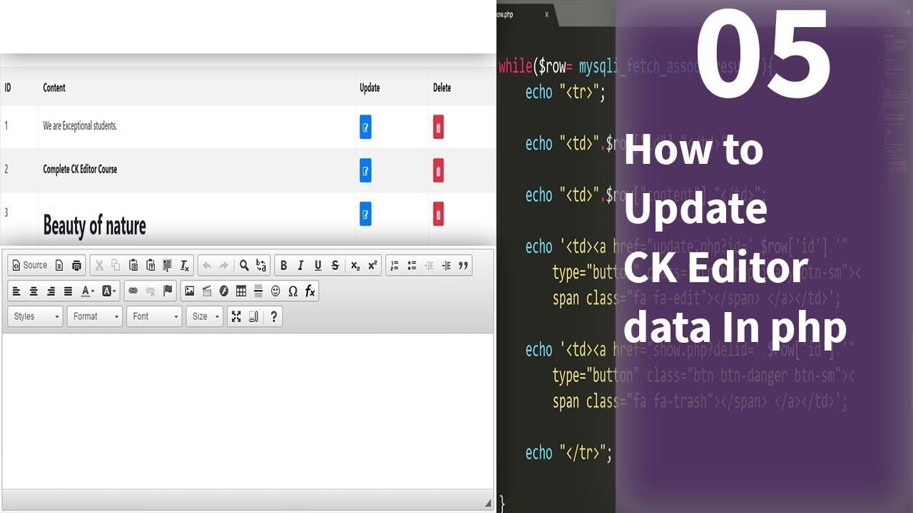 How to Update CK Editor data In php
