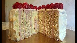 Торт-Рулет с Малиной / Малиновый Торт / Cake with Raspberry / Пошаговый Рецепт(Очень Вкусно)