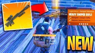 NEW Fortnite Heavy Sniper GAMEPLAY! Fortnite New Sniper Rifle Gameplay! (New Heavy Sniper Gameplay)