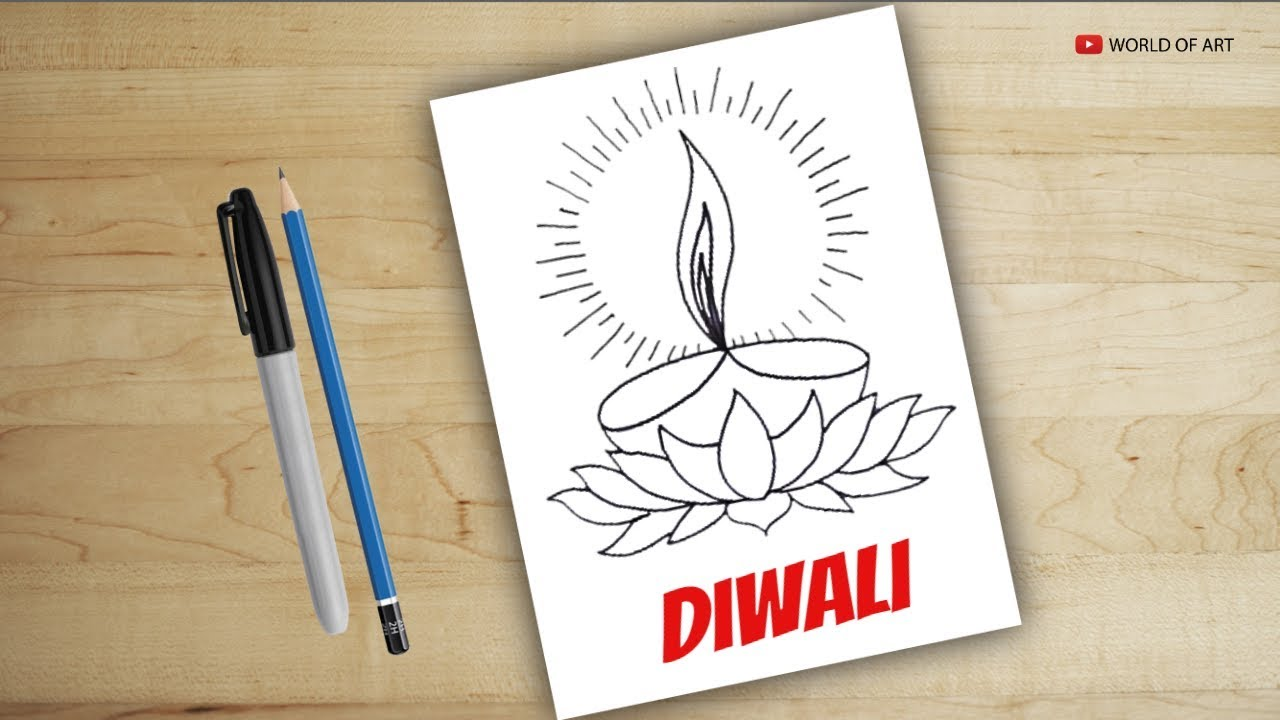 How to draw diya for diwali drawing diya diwali diya
