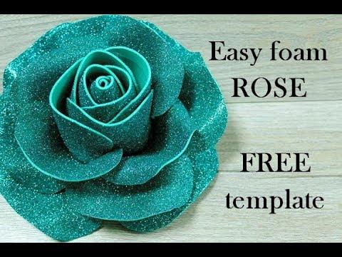 Easy Foam Rose Foamiran Rose Tutorial عمل وردة مجسمة بالفوم