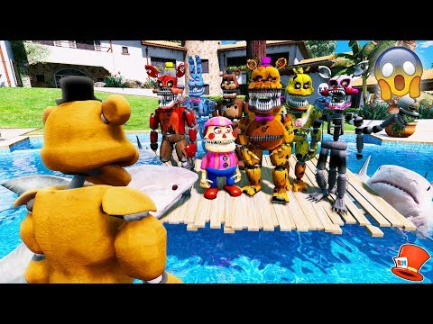 CAN BUFF FREDDY SAVE THE NIGHTMARE ANIMATRONICS FROM A POOL OF SHARKS? (GTA 5 Mods FNAF RedHatter)