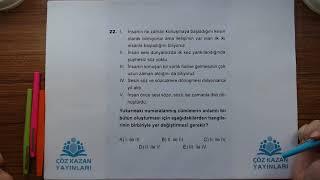 Çöz Kazan YGS 1Deneme Türkçe 22Soru