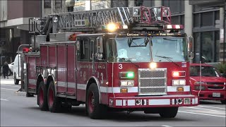 Chicago Fire Trucks Responding With Great Sounding Siren And Air Horn!