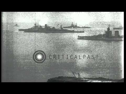 American battleships USS Texas, New York, Kentucky and Kansas anchored at the Fir...HD Stock Footage