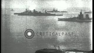 American battleships USS Texas, New York, Kentucky and Kansas anchored at the Fir...HD Stock Footage