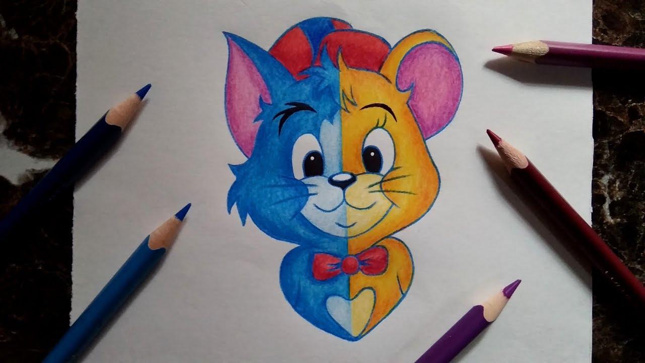 Drawing Tom & Jerry Unique combination    Colour pencil ...