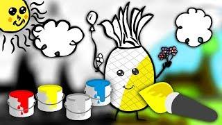 Nauka kolorów dla dzieci - Kolorowanie ananasa   CzyWieszJak