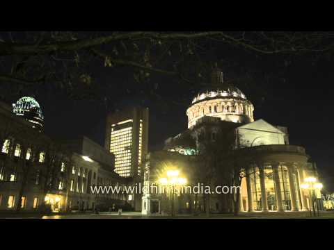 The First Church of Christ Scientist at night , Boston, USA - Time Lapse