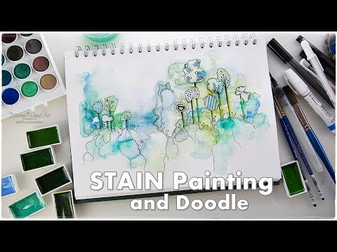 Watercolor Stain Doodle Beginners Technique ♡ Maremi's Small Art ♡