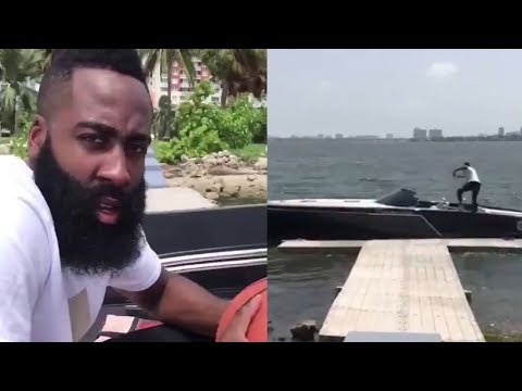 James Harden Does the Drive-By Dunk Challenge from a Damn Boat