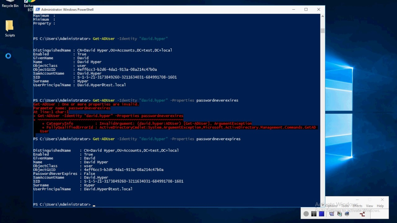 Manage Active Directory Using Powershell 5 Windows Server 2016