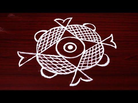 Free hand rangoli designs with out dots - simple lotus flower kolam designs - muggulu designs