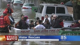 Rescue Crews Pull Residents From Flooded Homes In South San Jose