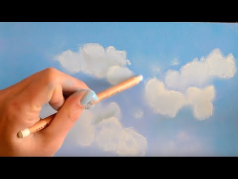 Dessiner Des Nuages Blancs Sur Ciel Bleu Au Pastel Avec L Artiste