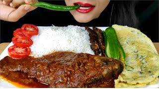 ASMR:EATING SPICY FISH CURRY,FISH FRY,OMLETE AND RICE (EATING SHOW)