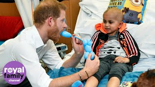 Duke of Sussex plays with balloon animals at Oxford Children's Hospital