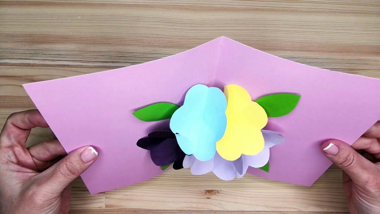 Красивая объемная открытка-цветок на 8 марта своими руками