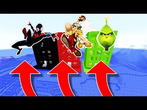NE RENTREZ PAS DANS LE MAUVAIS IMMEUBLE MINECRAFT !! Spider-Man New Generation Astérix Le Grinch !