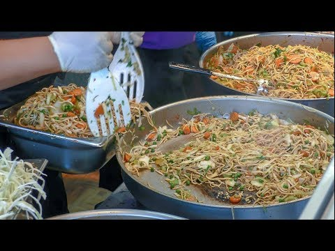 Preparing Thai Rice Noodles with Vegetables Step by Step. Street Food of Thailand