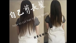 5分鐘簡單教學:自己剪長髮尾(有層次)how to cut your own hair in long layers (easy)