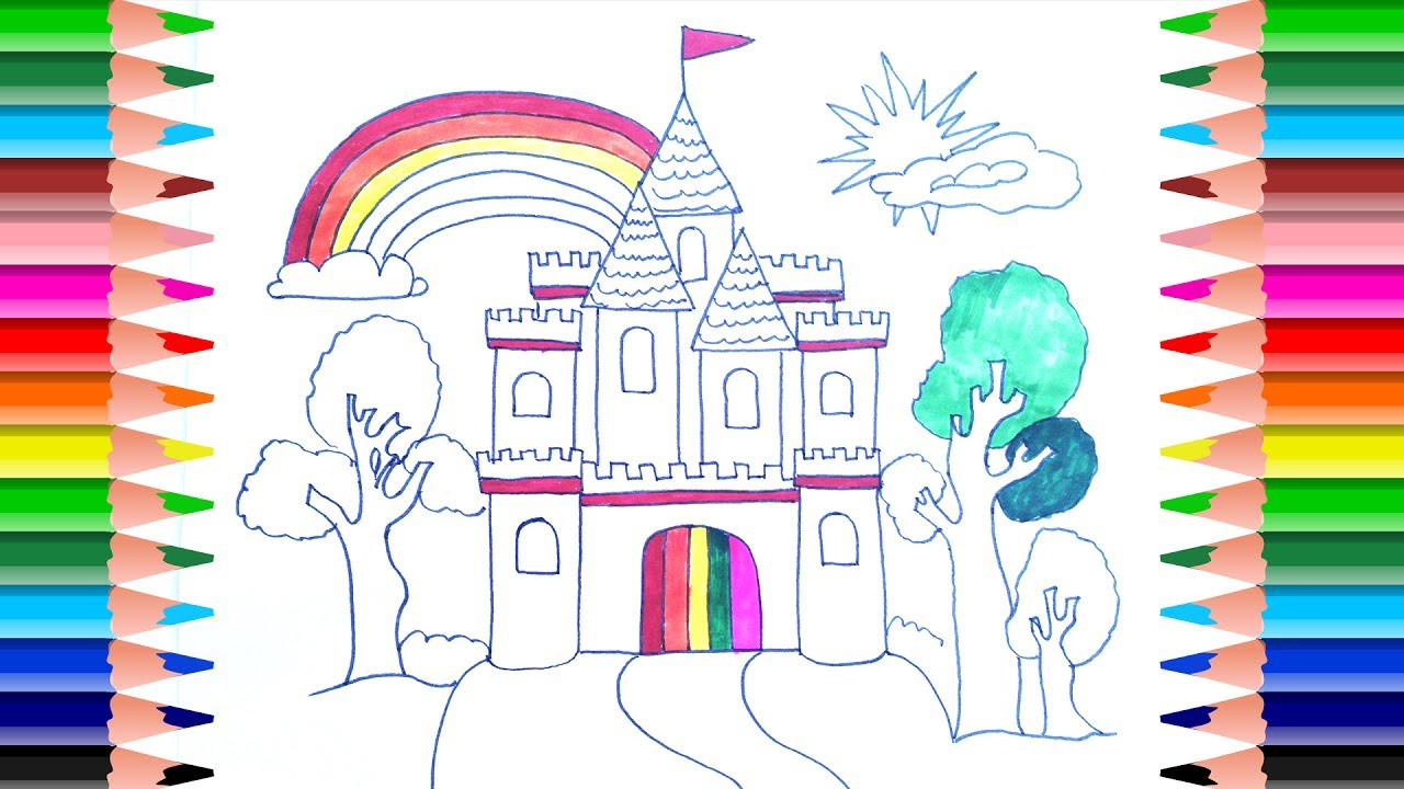 How to draw castle for princess | Castle Coloring Page ...
