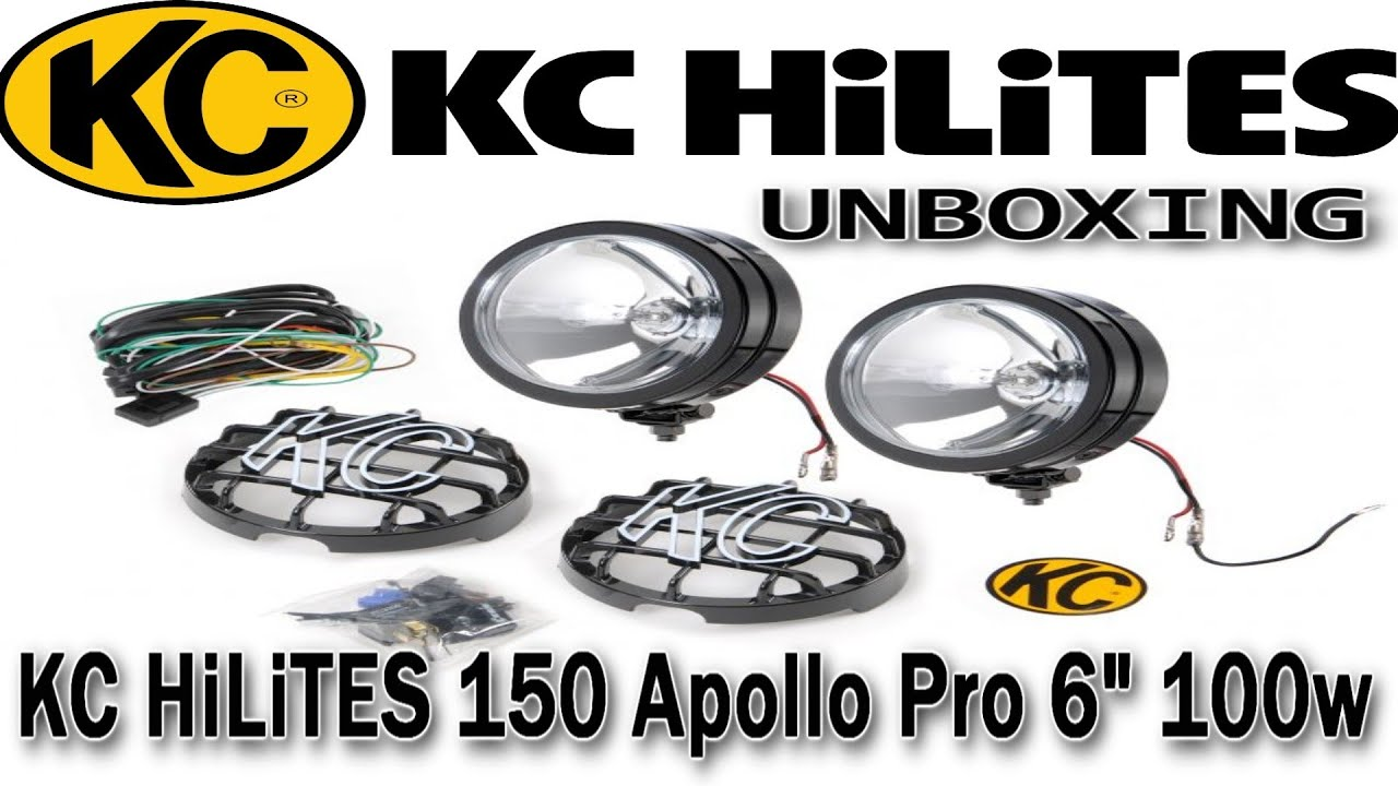 unboxing kc hilites 150 apollo pro 6 100w lights youtube. Black Bedroom Furniture Sets. Home Design Ideas