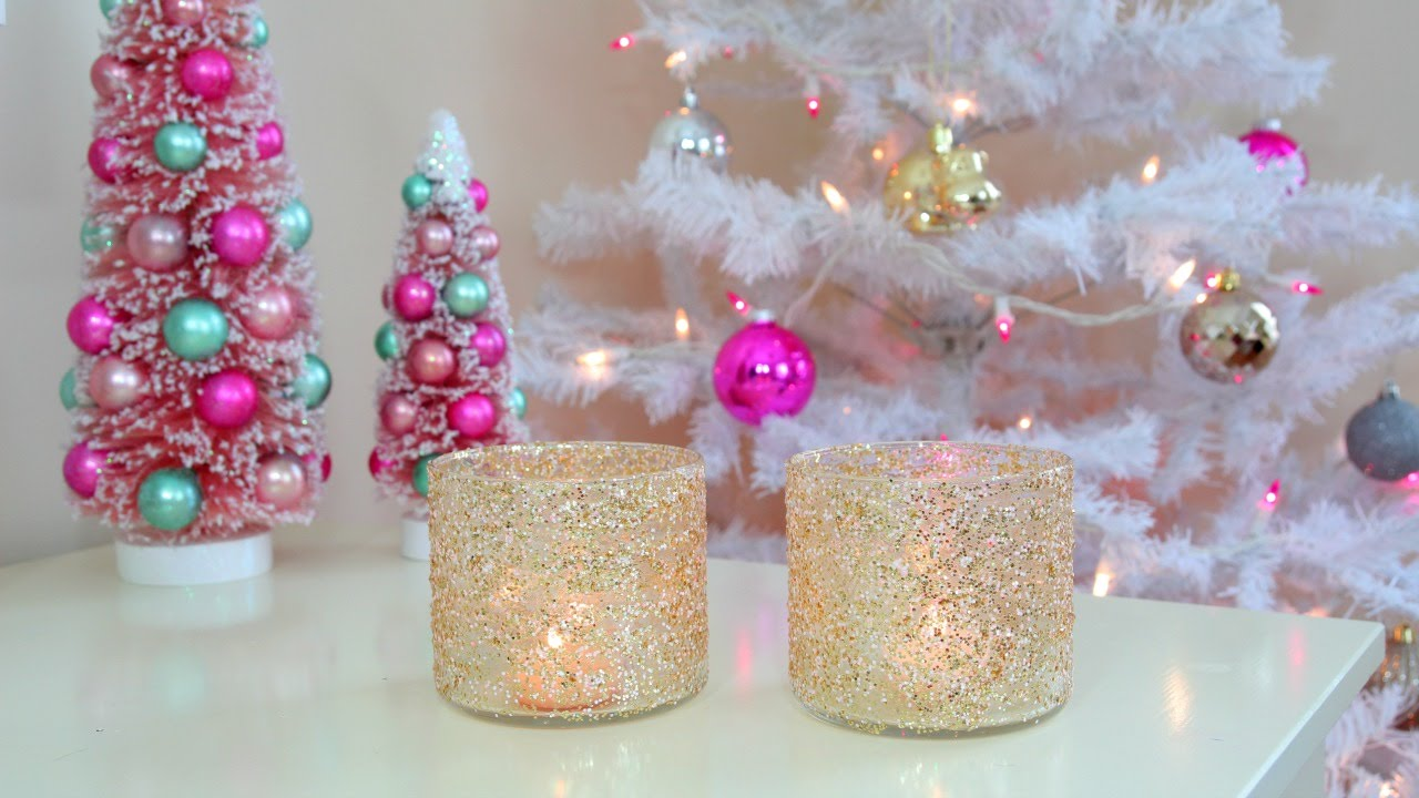 Diy christmas winter room decor frosty glitter jars for Room ornaments